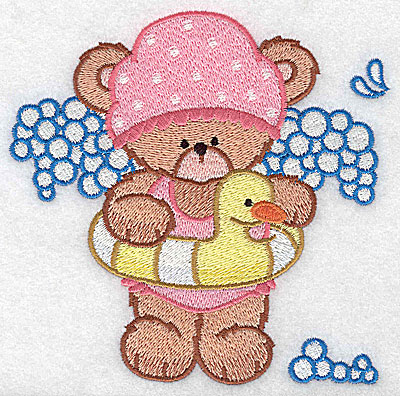 Embroidery Design: Baby bear with inflatable toy large 4.95w X 4.89h