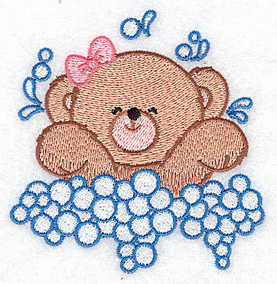 Embroidery Design: Baby bear splashing small 3.59w X 3.70h