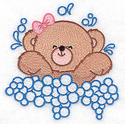 Embroidery Design: Baby bear splashing large 4.66w X 4.81h