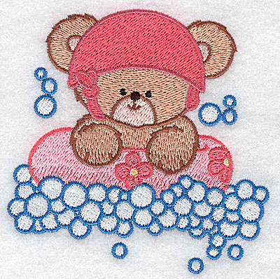 Embroidery Design: Baby bear rafting small 3.81w X 3.86h