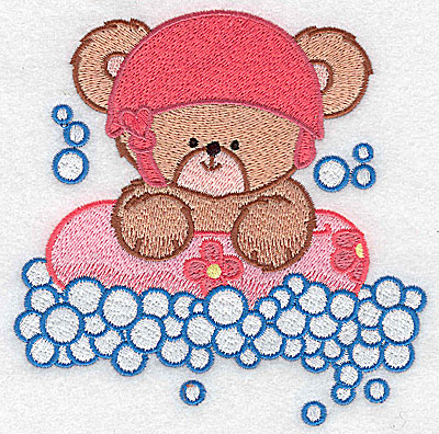 Embroidery Design: Baby bear rafting large 4.91w X 4.98h