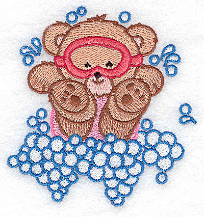 Embroidery Design: Baby bear in mask small 3.65w X 3.86h