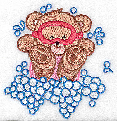 Embroidery Design: Baby bear in mask large 4.71w X 4.97h