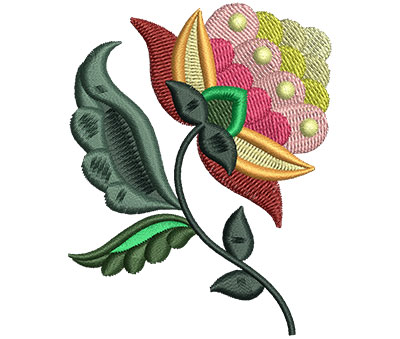 Embroidery Design: Big Jacobean Flower 1 2.37w X 3.00h