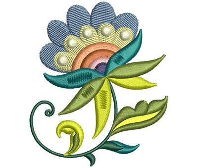 Embroidery Design: Big Jacobean Flower 2 2.52w X 2.98h