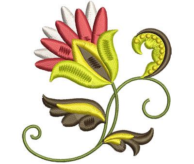 Embroidery Design: Big Jacobean Flower 3 2.78w X 3.01h