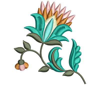 Embroidery Design: Big Jacobean Flower 6 2.61w X 3.00h