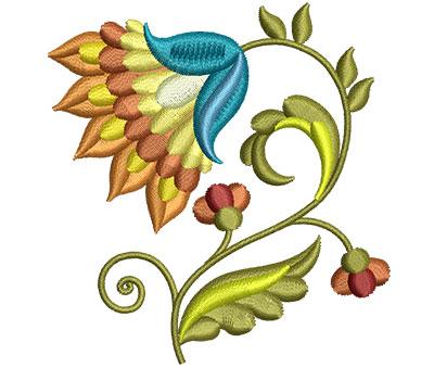 Embroidery Design: Big Jacobean Flower 7 2.85w X 3.01h