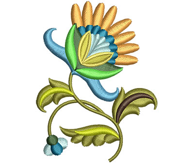 Embroidery Design: Big Jacobean Flower 8 2.26w X 3.00h