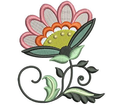 Embroidery Design: Big Jacobean Flower 9 2.57w X 3.01h