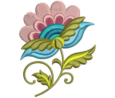 Embroidery Design: Big Jacobean Flower 10 2.41w X 3.00h