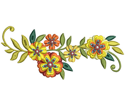 Embroidery Design: Bunch Of Flowers 2 5.99w X 2.60h