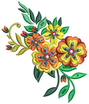 Embroidery Design: Bunch Of Flowers 6 3.99w X 4.71h