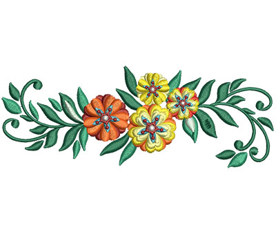 Embroidery Design: Bunch Of Flowers 7 6.01w X 2.25h