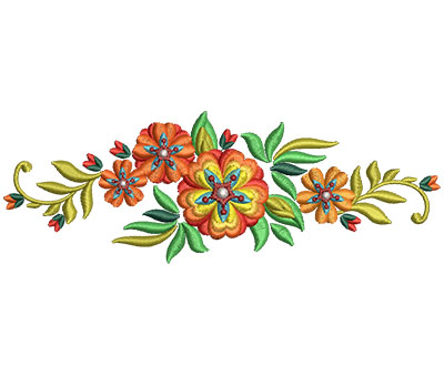 Embroidery Design: Bunch Of Flowers 9 5.99w X 2.07h