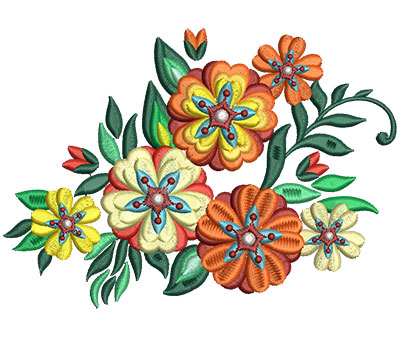 Embroidery Design: Bunch Of Flowers 10 6.00w X 4.25h