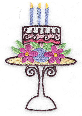 Embroidery Design: Cake with three candles small 2.54w X 3.88h