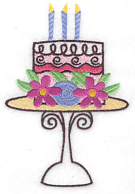 Embroidery Design: Cake with three candles large 3.29w X 4.93h