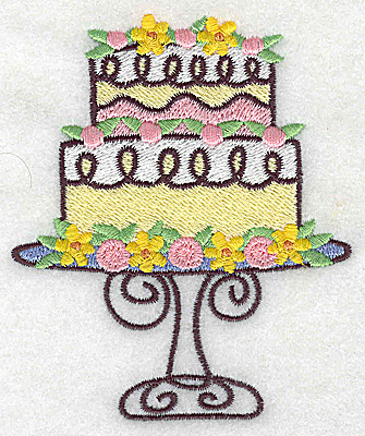 Embroidery Design: Two tier cake 3.23w X 3.88h