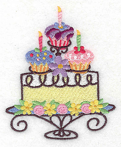 Embroidery Design: Cake with three cup cakes small 3.16w X 3.87h