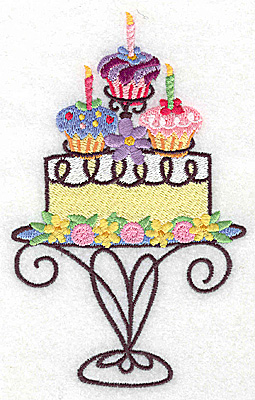 Embroidery Design: Cake with three cup cakes large 3.47w X 5.57h
