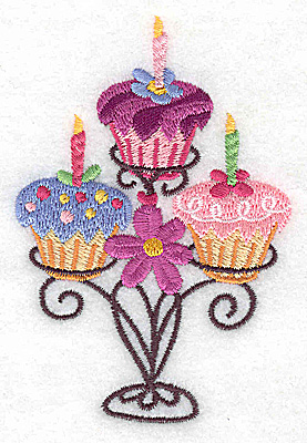 Embroidery Design: Three cup cakes on stand small 2.56w X 3.88h