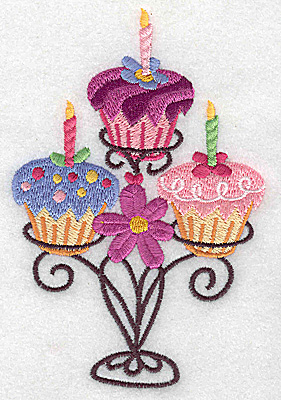 Embroidery Design: Three cup cakes on stand large 3.27w X 4.96h