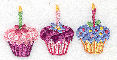 Embroidery Design: Cup cake trio small 3.89w X 1.91h