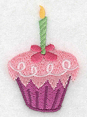 Embroidery Design: Cup cake with green candle 1.60w X 2.44h