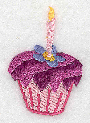 Embroidery Design: Cup cake with pink candle 1.57w X 2.41h
