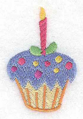 Embroidery Design: Cup cake with hot pink candle 1.58w X 2.44h
