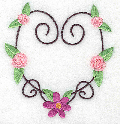 Embroidery Design: Heart with flower and rosettes small 3.68w X 3.86h
