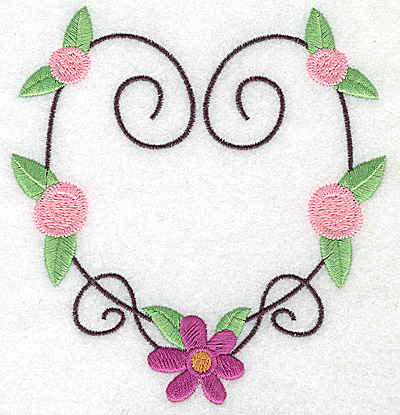 Embroidery Design: Heart with flower and rosettes large 4.62w X 4.94h