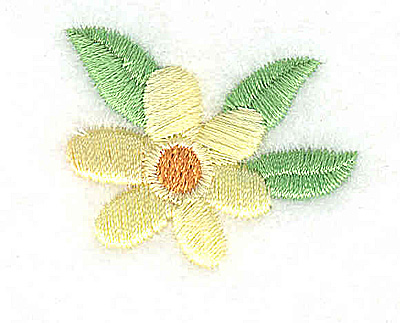 Embroidery Design: Flower with three leaves 1.44w X 1.18h
