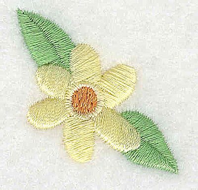 Embroidery Design: Flower with two leaves 1.34w X 1.38h