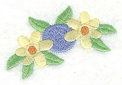 Embroidery Design: Blue Rossette with yellow flowers 2.32w X 1.59h