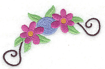 Embroidery Design: Flowers and swirls 3.50w X 2.24h