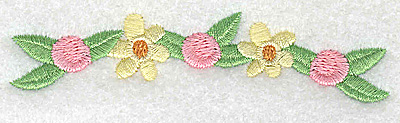 Embroidery Design: Flowers and rosettes small 3.89w X 0.96h