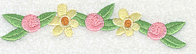 Embroidery Design: Flowers and rosettes large 4.98w X 1.22h