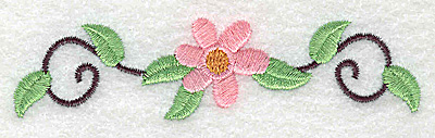Embroidery Design: Flower and swirls small 3.86w X 0.96h