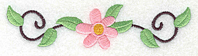 Embroidery Design: Flower and swirls large 4.94w X 1.23h