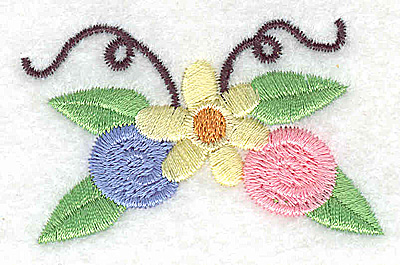 Embroidery Design: Flower rosettes and swirls small 2.45w X 1.57h