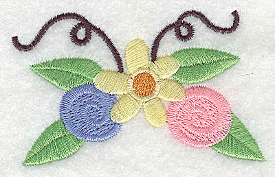 Embroidery Design: Flower rosettes and swirls large 3.13w X 2.01h