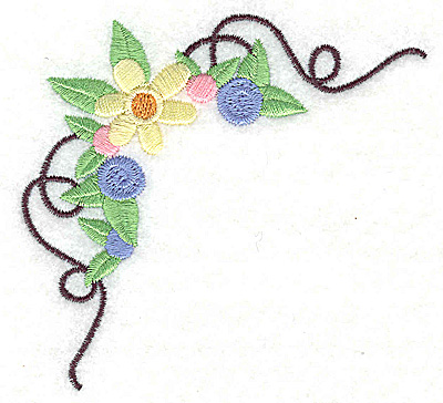 Embroidery Design: Floral corner with swirls small 3.54w X 3.63h