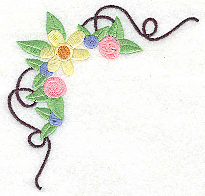 Embroidery Design: Floral corner with swirls large 4.90w X 4.53h