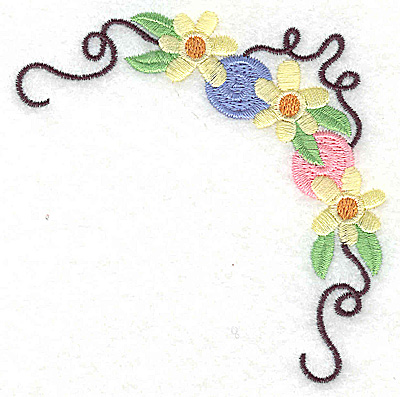 Embroidery Design: Floral corner with rosettes small 3.83w X 3.85h