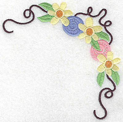 Embroidery Design: Floral corner with rosettes large 4.94w X 4.96h