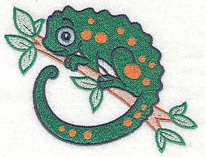 Embroidery Design: Chameleon large 4.33w X 3.31h