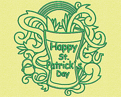 Embroidery Design: Happy St Patricks Day 4.25w X 4.19h