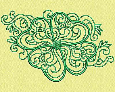 Embroidery Design: Stylized clover 3.13w X 4.94h